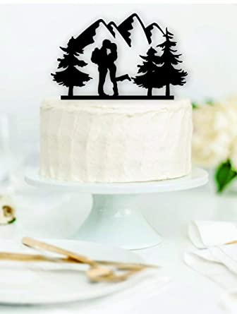 Hiking Couple Wood Wedding Cake Topper Backpacking Outdoor Bride