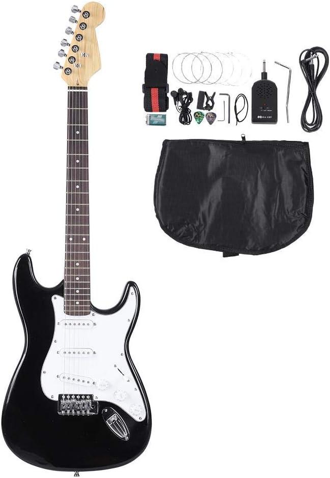 Electronic Rock Guitar 33 Pulgadas, Guitarra Eléctrica de Madera 6 Cuerdas con Bolsa y Accesorios, Blanco Negro