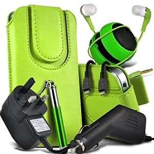 Nokia Lumia 525 Protective PU Leather Atracción magnética Slip Cord En la bolsa del lanzamiento rápido con Mini capacitiva lápiz óptico retráctil, 3.5mm en auriculares del oído, Mini recargable altavoz de la cápsula, Micro USB CE aprobó 3 Pin Cargador 12v Micro cargador de coche (verde )
