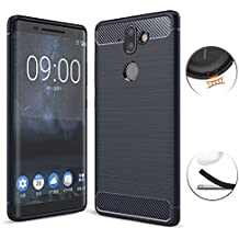 Nokia 8 Sirocco Case, TopACE Ultra Thin Carbon Fiber Scratch Resistant Shock Absorption Soft TPU Protective Cover for Nokia 9 / Nokia 8 Sirocco (Blue)