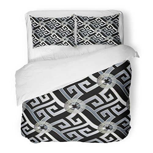 SanChic Duvet Cover Set Modern Geometric Black White 3D Wavy Greek Key Circles Geometrical Shapes Figures Vintage Decorative Bedding Set 2 Pillow Shams King Size