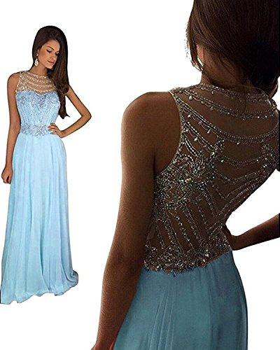 Ballkleider Lang Brautjungfernkleider Blau PartyKleid Chiffon Abendkleider Changjie Hochzeit Damen Kristall F¨¹r Elegant 8gPvwztxq