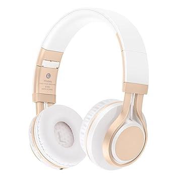 Auriculares Bluetooth Con Mic Cómodas Auriculares Soporte TF Tarjeta FM Auriculares Inalámbricos Bass Gaming Auriculares Para iphone Xiaomi PC , White Gold: ...