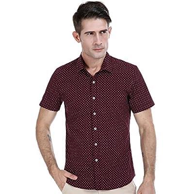 SUNIN Men's Cotton Short Sleeve Button Down Shirts for Men Slim Fit Casual