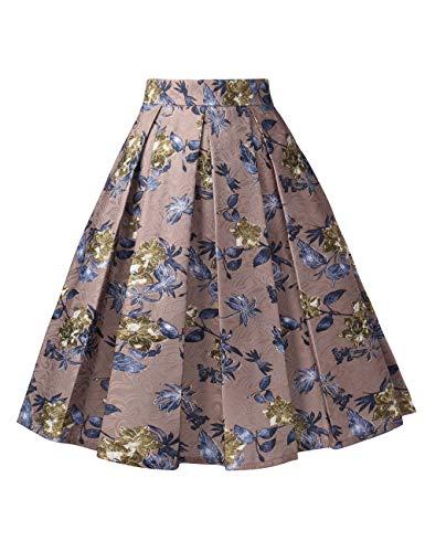 DJT FASHION Femme Rtro Jupe Imprime Plisse A-Line Taille Haute Vintage Midi Jupe Cafe Fleur