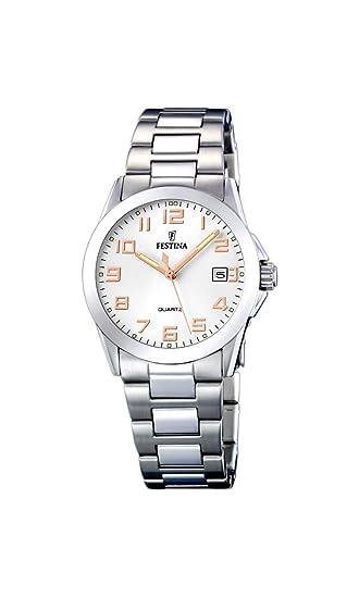 Festina F16377 3 - Reloj analógico para mujer de acero inoxidable  Resistente al agua plata  Amazon.es  Relojes b044bc2a1e1