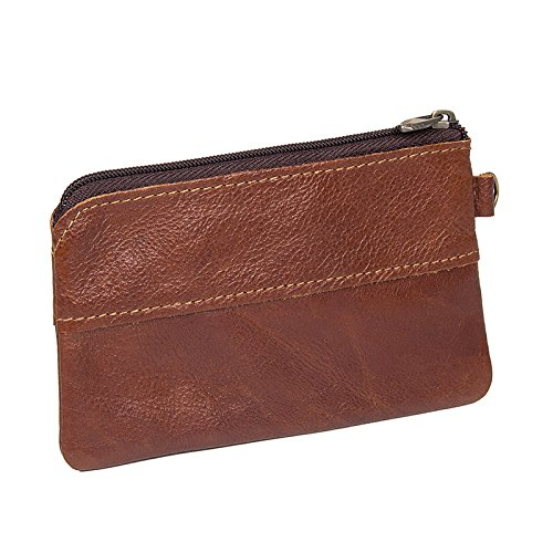 Shengjuanfeng Mens Coin Purse Leather Wallet Coin Purse Coin Bag Coin Purse Key Bag Color : Brass, Size : S