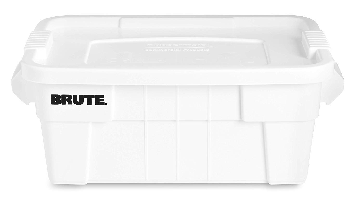 Rubbermaid 14 gal White Plastic Brute Tote with Lid - 27 7/8''L x 17 3/8''W x 10 11/16''D