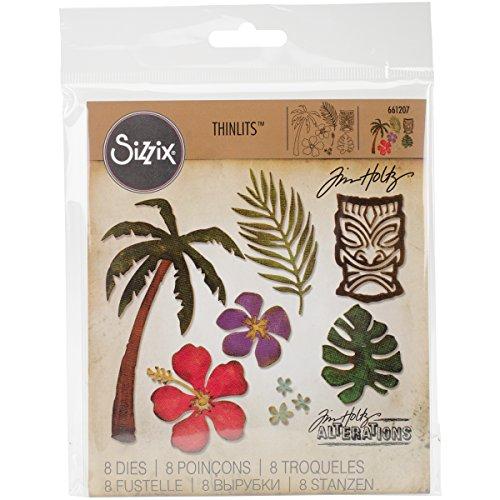 Sizzix 661207 Thinlits Die Set, Tropical by Tim Holtz (8/Pack) - Hawaii Scrapbook Die Cut