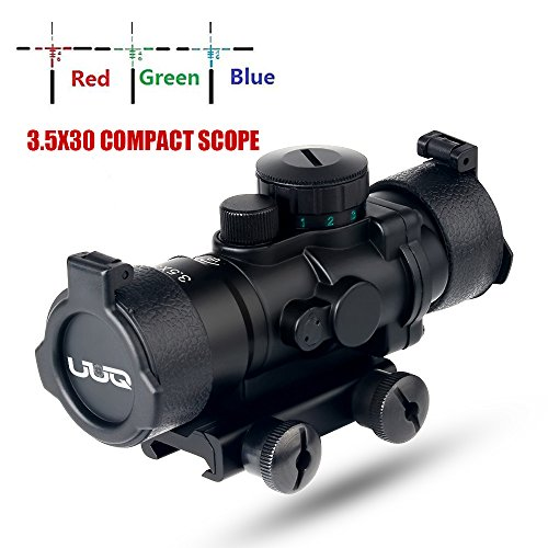 UUQ Prism 3.5X30 Red/Green/Blue Triple Illuminated Rapid Range Reticle Rifle Scope With Built In Mount (12 Month - Integral Rail Mounting