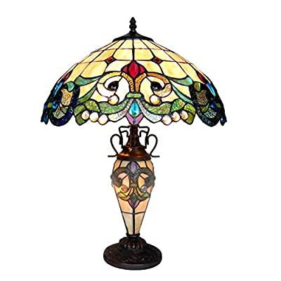 """Chloe Lighting CH18767IV18-DT3 18"""" Shade Dulce Tiffany-Style 3 Light Victorian Double Lit Table Lamp, 24.5 x 18 x 18, Multicolor"""