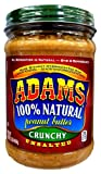Adams 100% Natural CRUNCHY UNSALTED Peanut Butter 16oz (3 Pack)