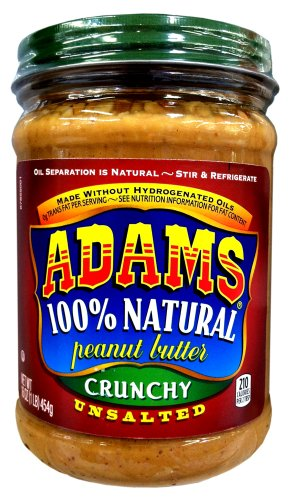 Adams 100% Natural CRUNCHY UNSALTED Peanut Butter 16oz (3 Pack)