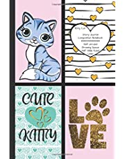 Kitty Cat Story Journal Composition Notebook Half Unruled Drawing Space Half Wide Ruled Lines: Combined Dual Write and Sketch Blank Workbook