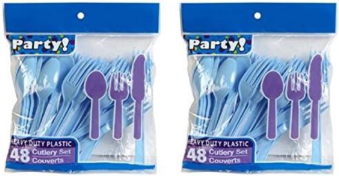 18PCS Deluxe Plastic Cutlery Set Kids Blue Pink Set UK Stock Fast /& Free D