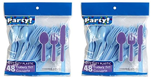 Heavy Duty Plastic Cutlery Set in Baby Blue - 32 Spoons, 32 Forks, 32 Knives - Light Blue