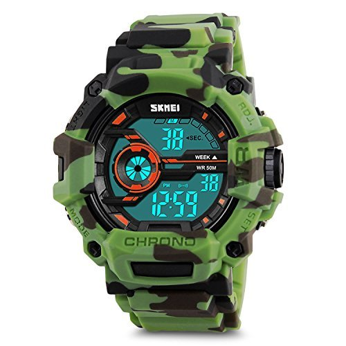 - Boys Camouflage Digital Sports Watch, LED Screen Military Wrist Watch with Waterproof Casual Luminous Stopwatch Alarm Simple Army Watches-Green