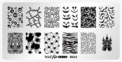 Whats Up Nails - B023 Creepin It Real Stamping Plate for Halloween Nail Art Design -