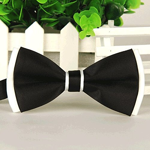 (Asian Cookie - Handmade Dog/cat Bow Tie for Medium & Large Pets (Free Attached Soft Fabric Collar) Double Layer Butterfly Design (Black))