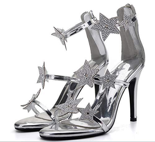 Talons Étoiles Main Lady 10cm À Mariée Couture D'été Fine La Ultime Peeps Strass Silverm Sandales Femme Les Liangxie Heel Haute De Hauts Chaussures vEdwqZZ