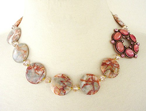 - Vintage Brooch Necklace, Asymmetrical Statement Necklace, Coral Jasper Coin Beads, Matching Bracelet