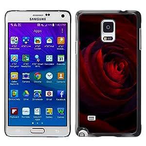 FECELL CITY // Duro Aluminio Pegatina PC Caso decorativo Funda Carcasa de Protección para Samsung Galaxy Note 4 SM-N910 // Black Dark Red Rose Petals Flower