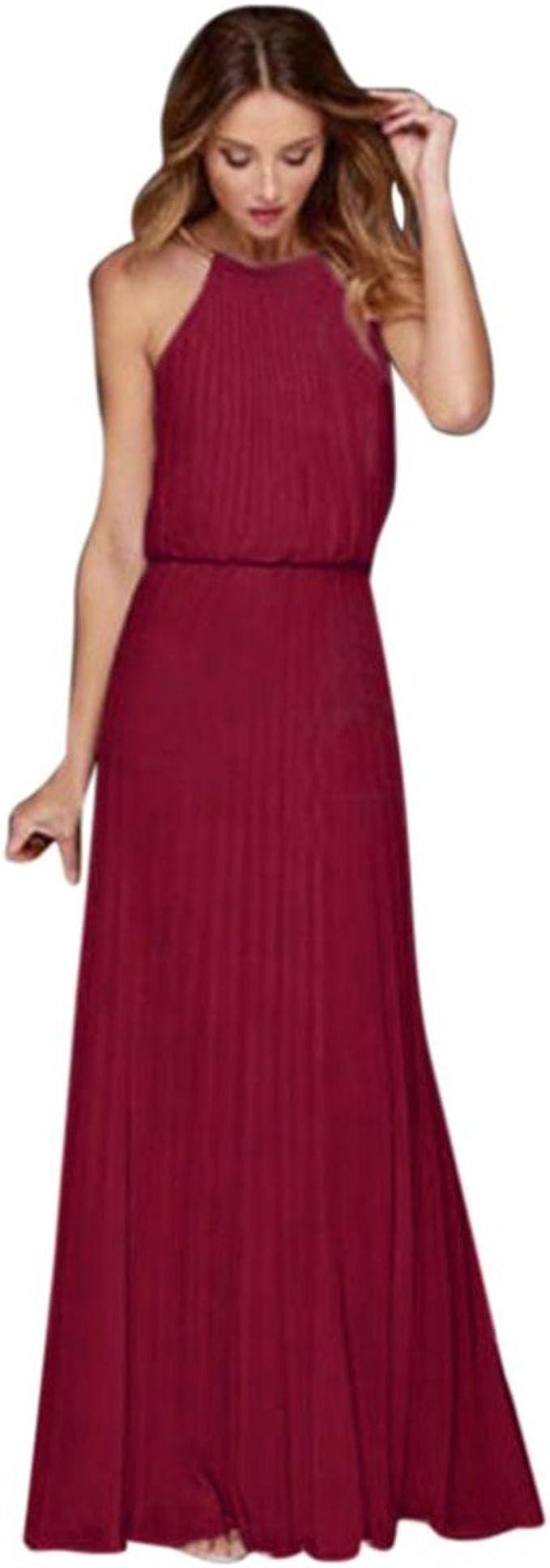 Hevoiok Damen Cocktailkleid Elegant Chiffon Neckholder Solide Abendkleid  Sexy Ärmellos Faltenrock Lang Kleid