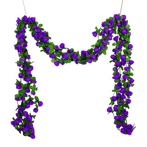 WskLinft Artificial Flowers, Fake Outdoor UV Resistant Simulated Rose Vine Garland Plant Greenery Shrubs Indoor Outside Home Kitchen Office Wedding Garden Decor and Table Centerpieces Purple