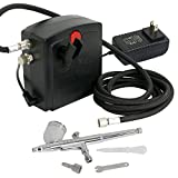 F2C TC-100 Black Mini Air Compressor Airbrush Kit Airbrush Compressor Kit Dual Action Spray Air Brush Set (TC-100K W/Airbrush Kit)