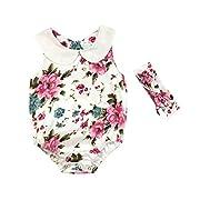 Leegor 2PC Newborn Infant Baby Girl Floral Sleeveless Romper Jumpsuit Sunsuit+Headband Set Outfits