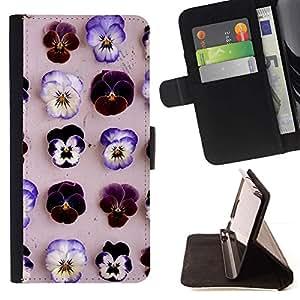 For Samsung ALPHA G850 Case , Modelo de flores púrpura primavera Beige- la tarjeta de Crédito Slots PU Funda de cuero Monedero caso cubierta de piel