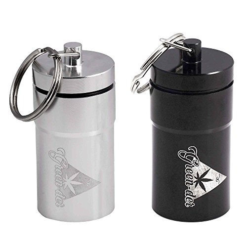 Fine Set of 2 Smell Proof and Waterproof Airtight stash Containers for Weed, Herbs, and Tobacco, Cool Storage with Key Chain, Black, and Silver by Green-Der (Weed Proof)