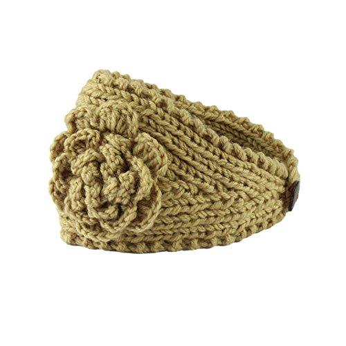 Women Head Wrap Soft Hair Band Lady Rhinestone Headwear Turban Twist Headband (Coffee) - 5
