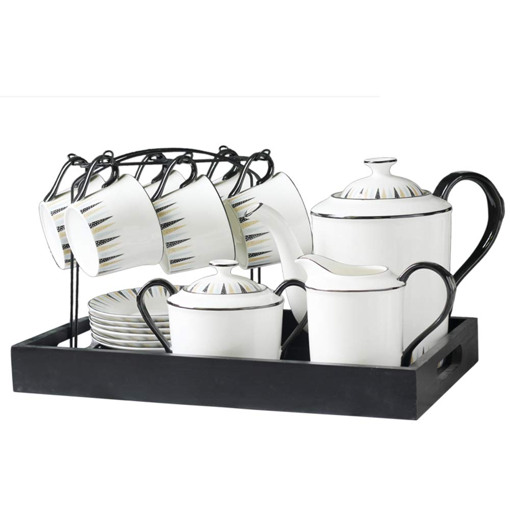 15 Piece European Ceramic Tea Sets,Bone China Coffee Set with Metal Holder and Metal Tray,Polish Style Balck Handle