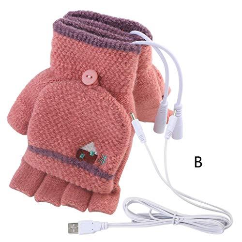 Heating Gloves,Gallity Women Men USB Heated Mitten Half Finger Winter Warm Knit Hand Gloves with Covers (B) ()