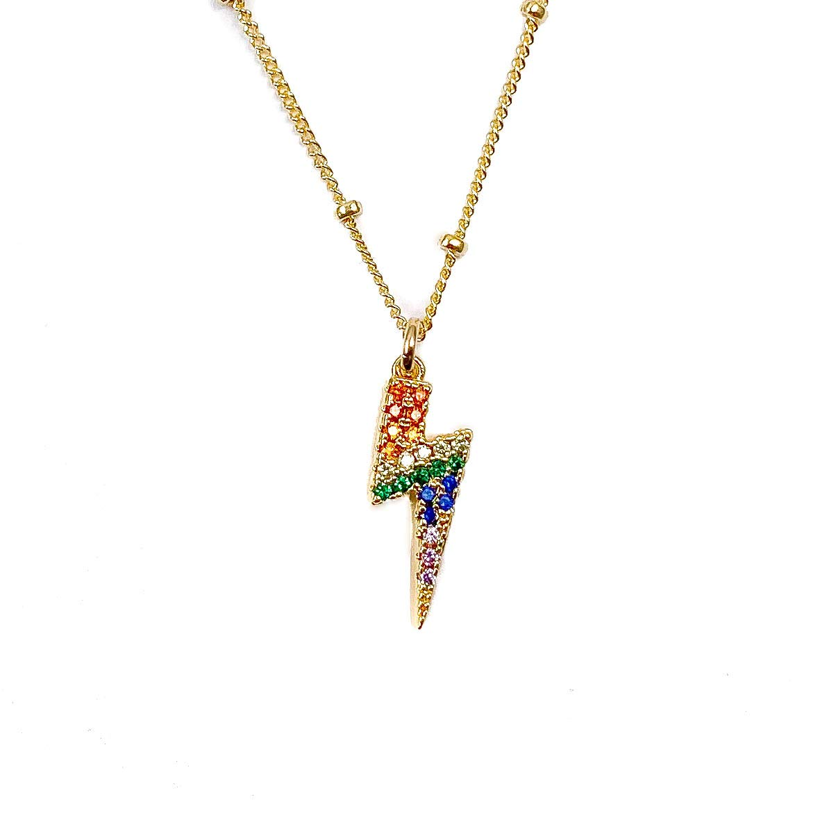 SOMEWHERE Gold necklace with CZ rainbow pendant