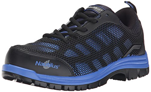Nautilus 1821 Slip Resistant Comp Toe No Exposed Metal EH Athletic Shoe,Black/Blue,11 W US ()