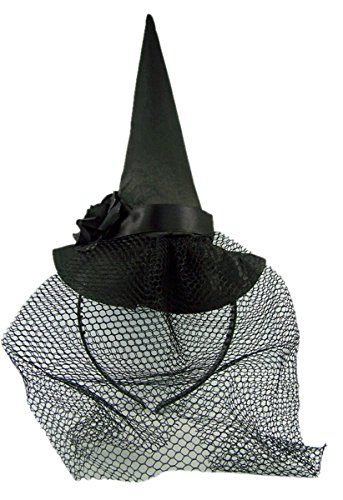 (Halloween Black Witch Hat with Veil Headband)