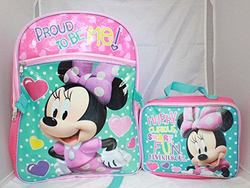Disney Minnie Mouse Girls Backpack Lunch Box SET Bookbag