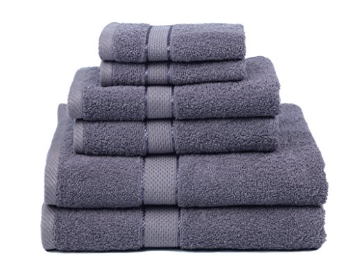 Premium Bamboo Cotton 6 Piece Towel Set (2 Bath Towels, 2 Hand Towels and 2 Washcloths) - Natural, Ultra Absorbent and Eco-Friendly (Coal) (Bath Collections Sets)