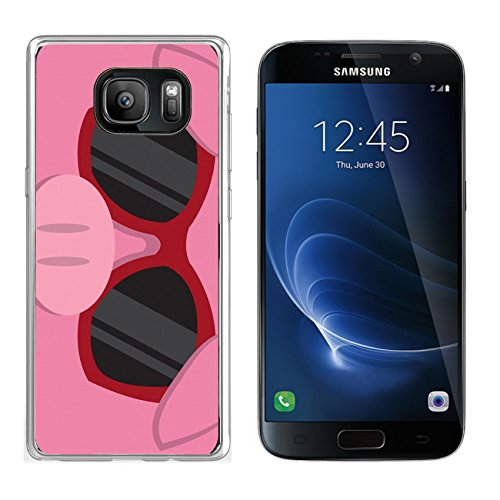 Liili Samsung Galaxy S7 Clear case Soft TPU Rubber Silicone Bumper Snap Cases IMAGE ID: 18010975 Cartoon pig head with - Sunglasses Pig With