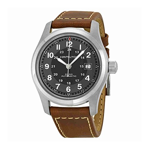 Hamilton Men's H70555533 Khaki Field Stainless Steel Automatic Watch with Brown Leather Band - Automatic Watch Stainless Steel Band