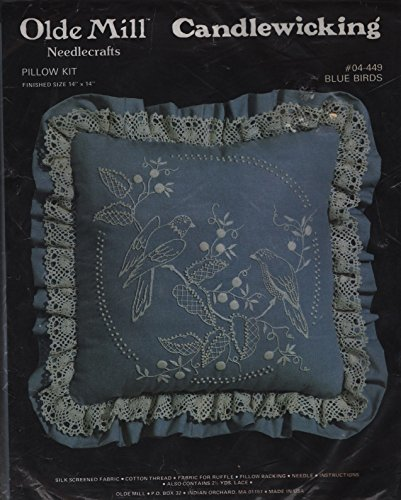 - Candlewicking Pillow Kit -Blue Birds - 14