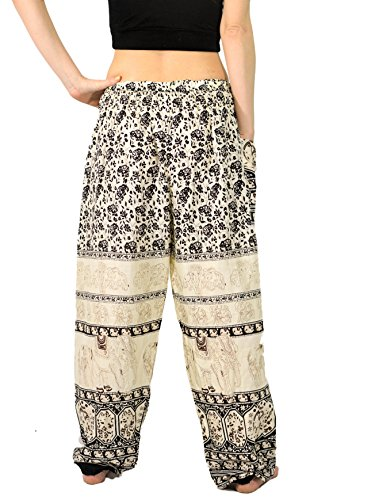 Orient Trail Women's Smocked Waist Tribal Elephant Yoga Harem Pants US Size 6 22