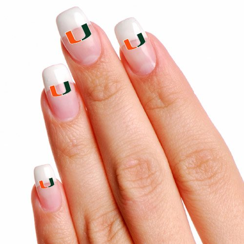 NCAA Miami Hurricanes 16 Mini Temporary Nail (Hurricanes Temporary Tattoos)