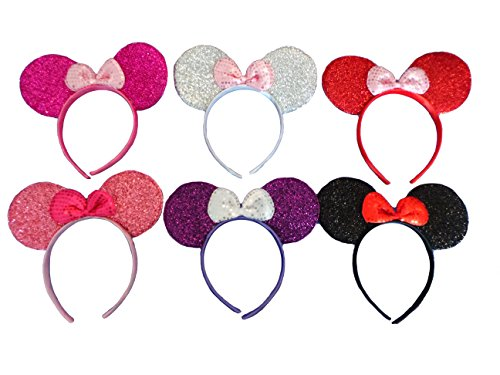 Multi color pack of Minnie Mouse ears bow headband for girls party & children birthday parties and more! (6 Pack - Multi Color, 1 of each)