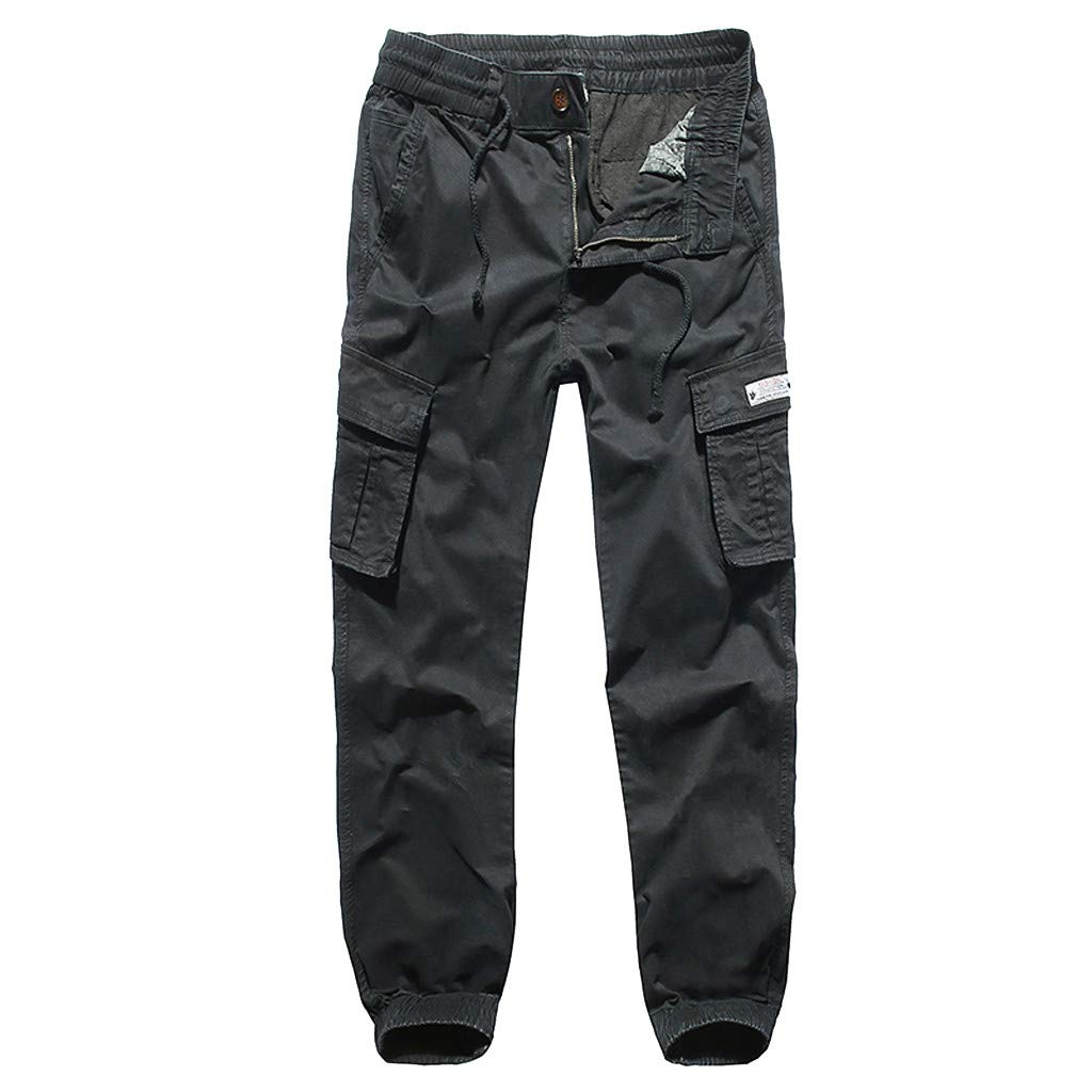 iYYVV Summer Mens Fashion Comfortable Loose Washed Overalls Mens Multi-Pocket Pants Black by iYYVV