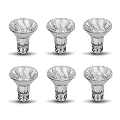 PAR20 50PAR20/FL DIMMABLE Par20 6 pack 130v 50W Halogen Spot Light Bulb 50 Watts 130 Volt Screw Base Flood Lamp PAR20 Replacement Rich Color Filled High CRI Ceiling Bathroom Kitchen Can Lighting