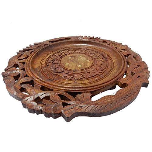 Handmade Wooden Round Serving Tray for Kitchen Serving Wine Serving with a Decorative Floral design and Carved Brass Inlay 12 X 12 Inch
