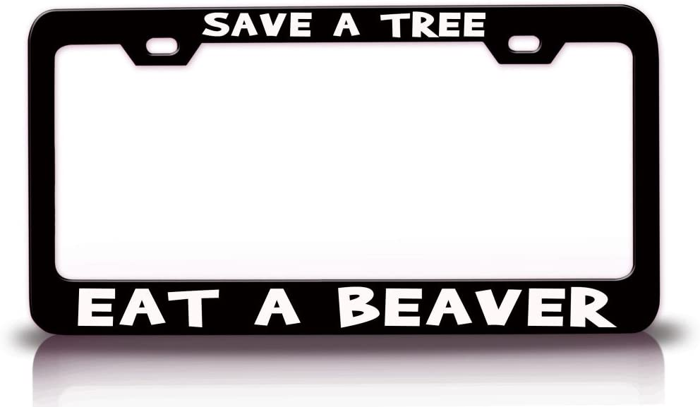 Black Metal License Plate Frame Tag Holder Got Beaver